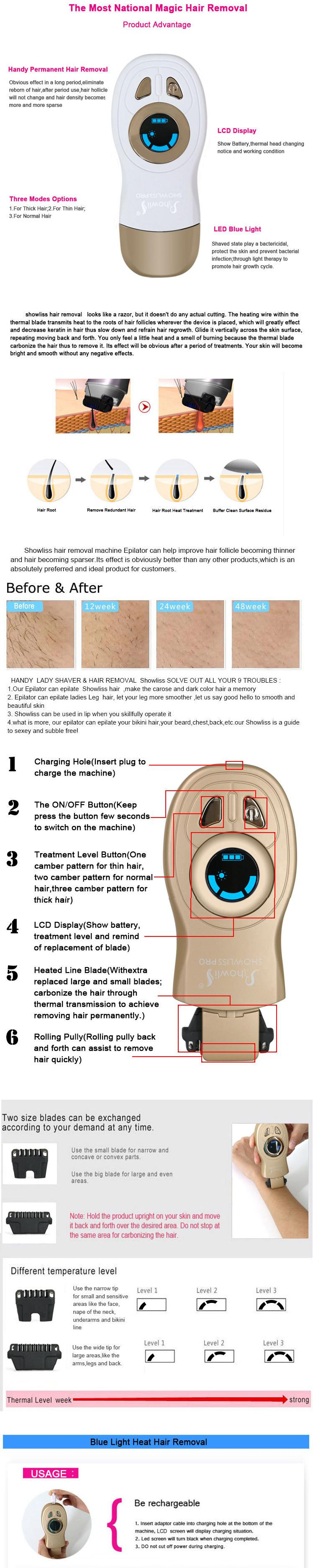 showliss pro hair removal instructions